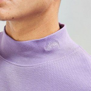 Stussy Purple Mock Neck Thermal Sweater Size XL